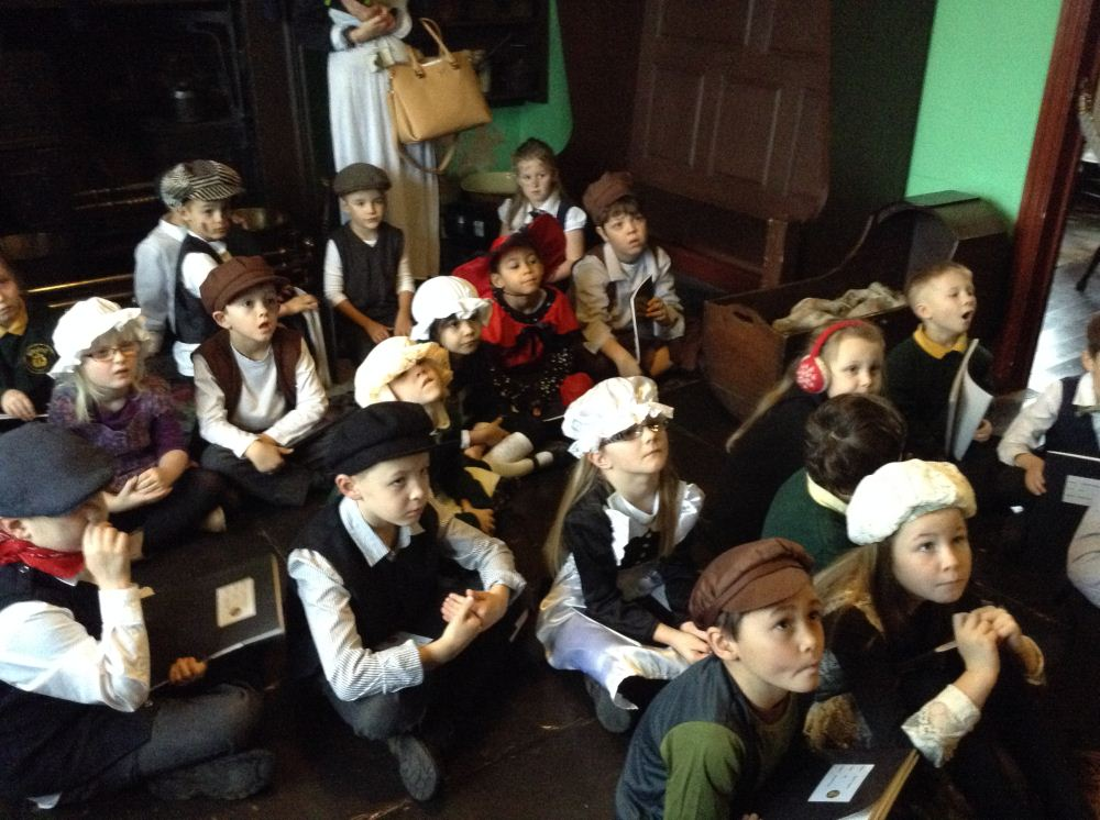 Children in Victorian fancy dress.